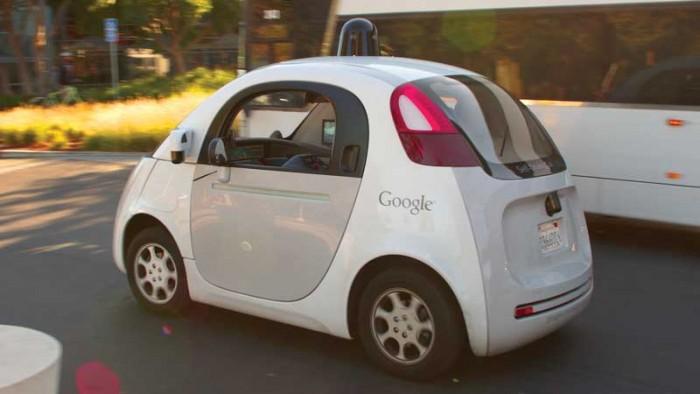 Self-driving Google Car at the Googleplex